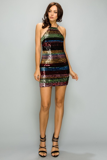 Sexy and fun short homecoming dress with striped multi color sequins that is designed to dazzle with high neckline in style PD5679- shop prom-avenue   Available in Multi as shown