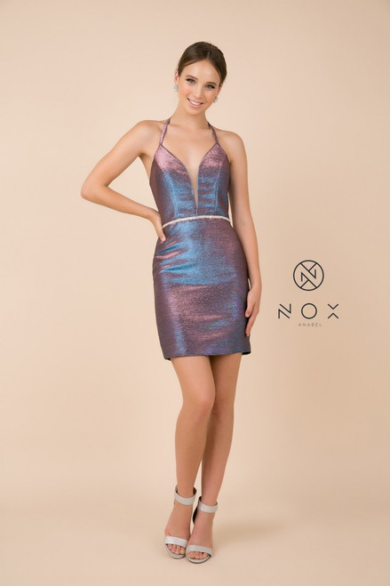 Showstopping short homecoming dress that is styled with sexy lace up back and figure hugging silhouette. It has embellished waistline and sparkly material - shop prom-avenue   Available in Royal Blue, Silver, Purple
