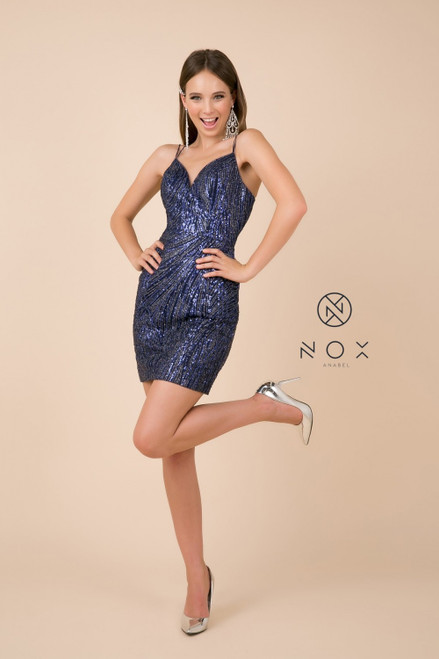 NX T680, Going to an ultimate party or going to your homecoming dance? This short sequins embellished dress has fitted silhouette and open back - shop prom-avenue  Available in Navy and Gold