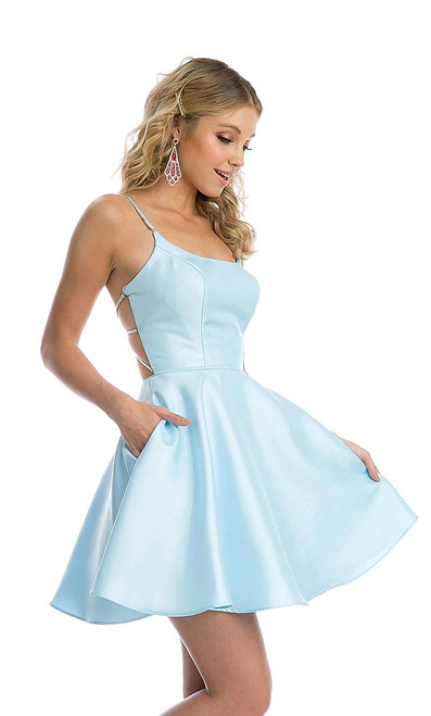 Short Homecoming Dress with Open Cage Back