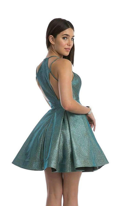 Cute and one of a kind fit and flare short homecoming dress in style JD 841 with open back and zip up closure - shop prom-avenue   Available in Teal, Gold-Coral, Purple