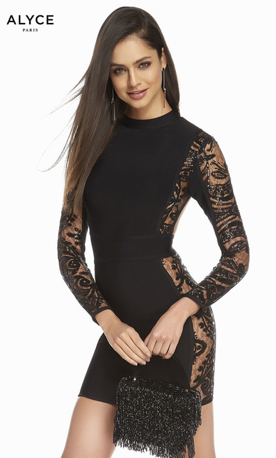 Alyce 4115 Long Sleeves Black Homecoming Dress .Show off your curves with this black bandage dress featuring long sleeves and open back and details on the sides in style Alyce 4115 - shop prom-avenue  Available in Black