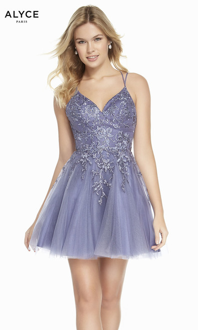 Luxurious embroidered short homecoming dress by Alyce 3840 in stunning lavender color with strappy back and lace bodice - shop prom-avenue  Color: Lavender