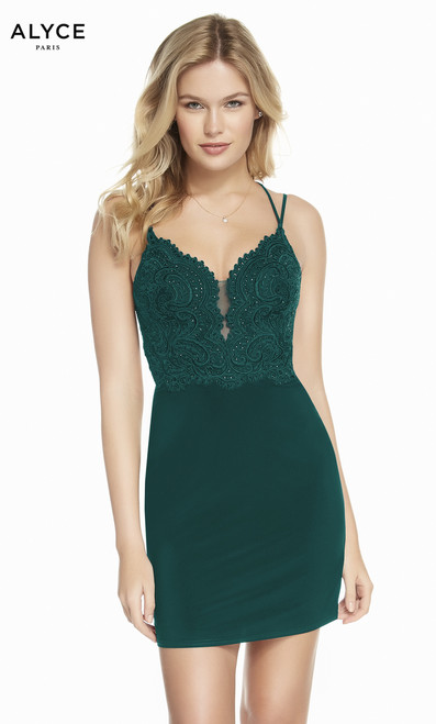 Look elegant in this sweet cocktail fitted dress by Alyce 4130 with embroidered embellished bodice in V neckline and sexy back. This dress features a jersey material that will hug your curves- shop prom-avenue   Available in Navy, Pine
