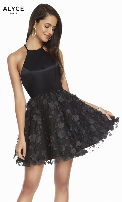 Cutest little black dress we have seen this season in Alyce 3860, classy but fun with high neckline and criss cross strappy back- shop prom-avenue   Available in Black only