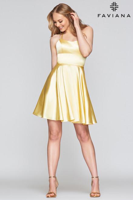 Short Buttercream Yellow Homecoming Dress FD S10361