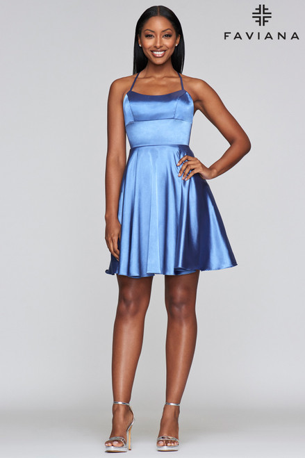 You want to keep on dancing with this dress in style FD S10361 featuring a square halter neckline and lace up back in steel blue color, perfect for an impeccable evening - shop prom-avenue S10361