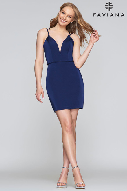 Sexy and short stretch satin fitted dress in style S10358 by Faviana with V neckline and lace up back that will hug your curves - shop prom-avenue   Available in Blue Navy,  Ivory, Red Wine