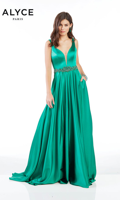 Luminous satin long a-line prom dress by Alyce 1422 that features low V neckline, beaded waistline and pockets- shop prom-avenue  Sea glass, claret, royal blue, yellow, emerald dress, midnight, pink, lilac, lemon drop