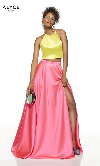 This Alyce 1518 luminous satin dress features a two piece design with sexy strappy back and halter neckline. The skirt has side slit- shop prom-avenue  Available in Lemon-Lime-Barbie Pink, Tiger Lily, Royal