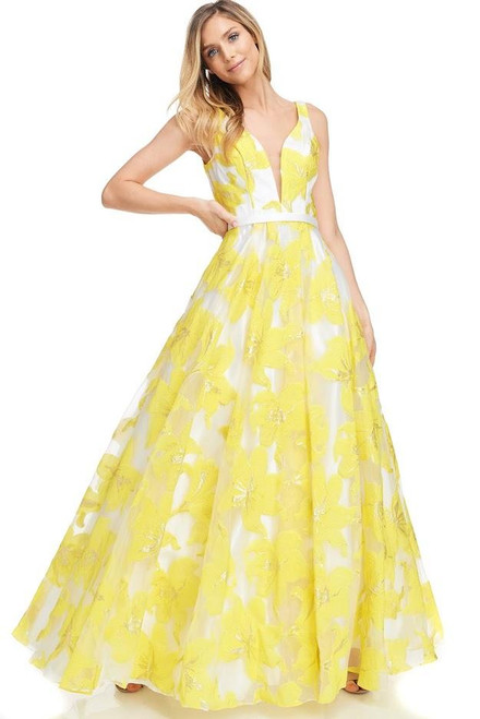 Making a big splash or making a big entrance at your prom dance or special event is the perfect way with style AG MZ3170 featuring an A-line silhouette and a V neckline with zip up closure- shop prom-avenue   Available in Yellow as Shown
