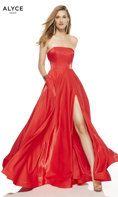 Classy, elegant and sexy long prom gown by alyce 1527 with strapless neckline and side slit. This dress has pockets to hide your phone while dancing, perfect for prom and formals- shop prom-avenue  Available in Lipstick, Black