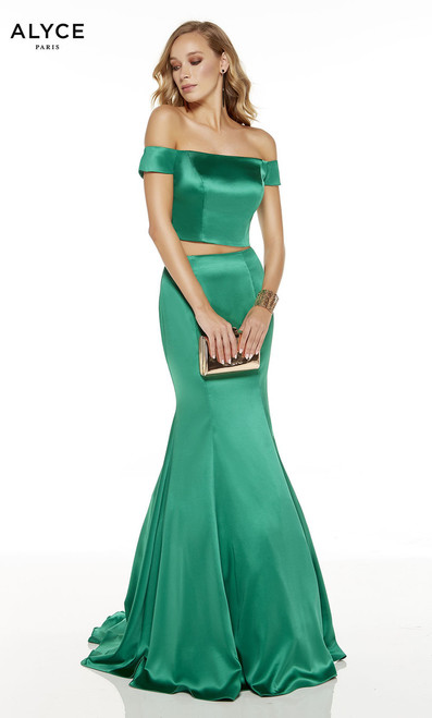 Alyce 1531,Gorgeous and flattering luminous satin mermaid silhouette dress that is great for special occasion or prom with off the shoulder bodice and two piece designer - shop prom-avenue  Available in Emerald, Limocello, Bubble Gum, ice Lilac, Royal Blue, Cerise, Barbie Pink