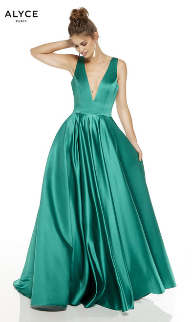 Get excited to attend your next special formal event with alyce 60707 long gown with plunging V neckline and long A-line skirt - shop prom-avenue  Available in Light Yellow, Emerald, Black