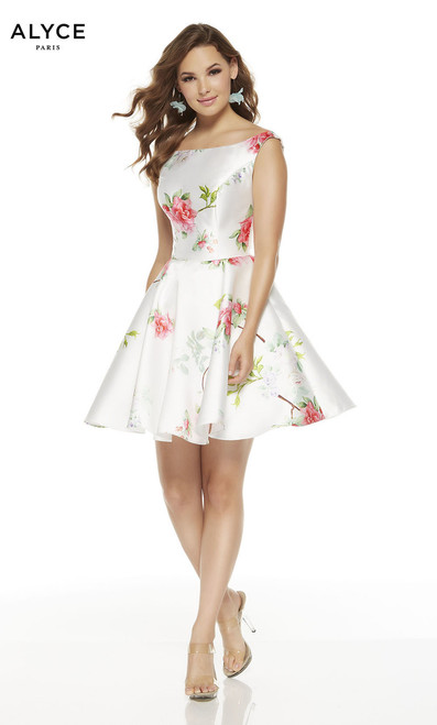 Elegant floral print short dress but Alyce 3921 in fit and flare silhouette, bateau neckline and zip up back - shop prom-avenue  Available in Diamond White as Shown