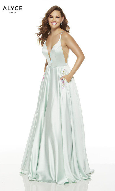 Enjoy the attention when wearing this dress by Alyce 1548 with elegantly classy dress with V neckline and cut out sides. This dress also features embellished pockets- shop prom-avenue   Available in Sea Glass and Chalk Pink