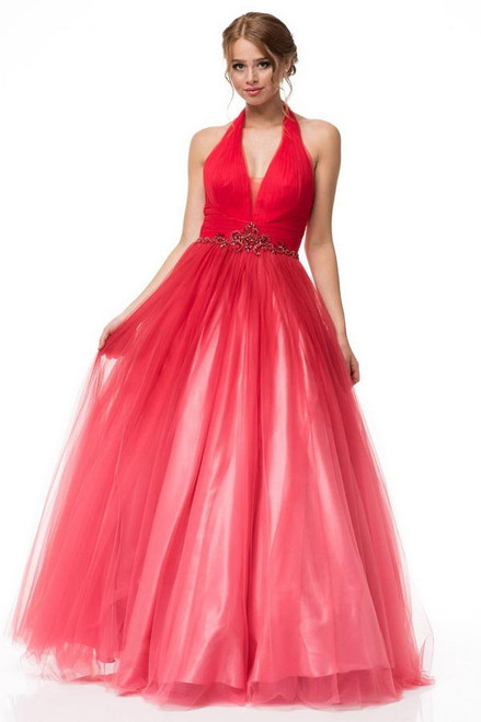 Hot red party dress in style AG AN1029 with V neckline and embellished waistiine in tulle material, this dress has open back in ball gown style - shop prom-avenue  Available in red