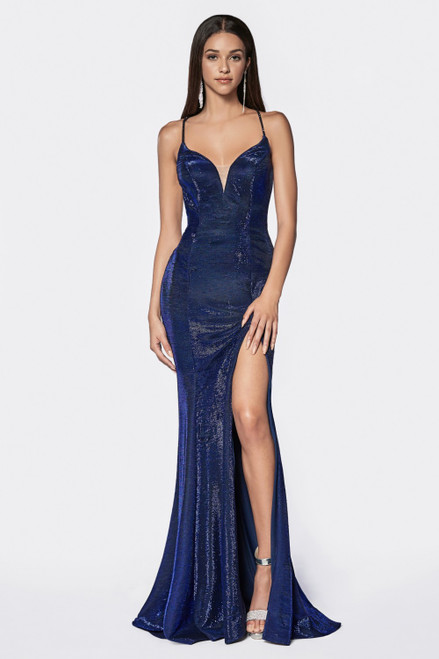 Make your special event or prom dance da day to remember with this fitted mermaid silhouette gown with metallic material and criss cross back - shop prom-avenue   Available in Metallic Blue, Metallic Black, Emerald