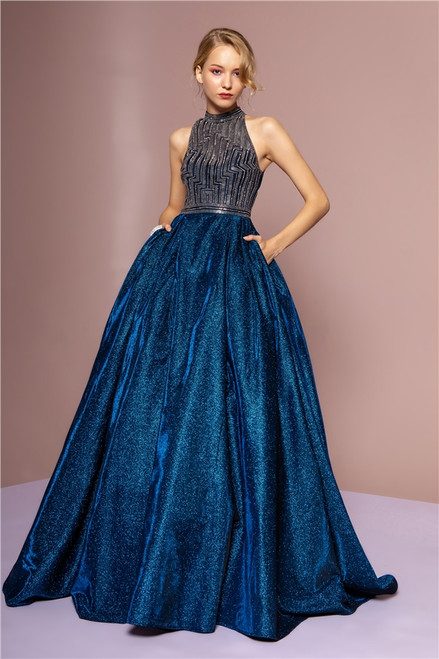 GLS CGL2631,Claim your spot effortlessly with this long  glittered crepe gown in style GLS CGL2631, this dress features high neckline and a full A-line skirt, sophisticated and stunning - shop prom-avenue   Available in Navy