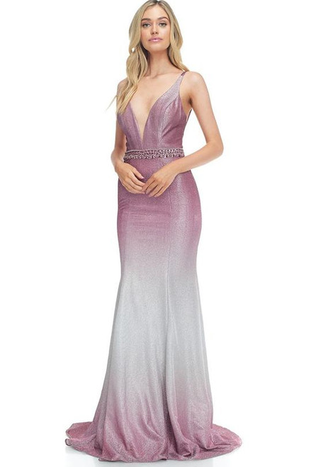 AG AN199-Beautiful and stunning dress in style AG AN199 with sleeveless and V neckline and spaghetti straps in mermaid silhouette- shop prom-avenue  Available in Mauve-Silver
