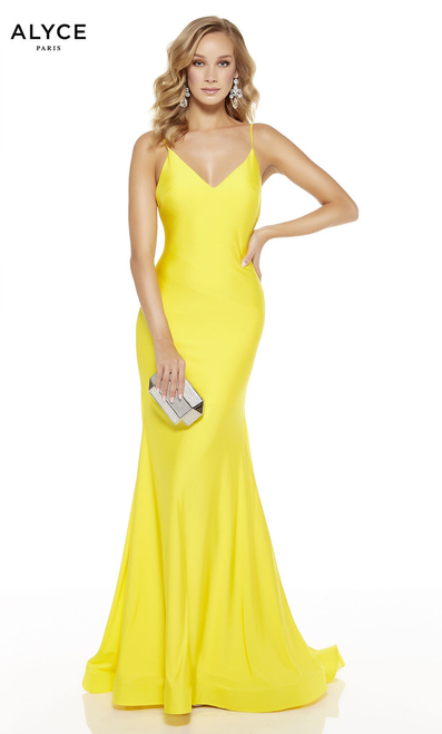 Alyce 60773 yellow,Why rent the runway when you can afford and own this beautiful curve hugging mermaid long prom dress in style Alyce 60773 featuring an open back and this straps - shop prom-avenue   Available i Red, Bright, Yellow, Ocean, Electric Blue, Black, Emerald, Wine, Midnight, Purple, Barbie Pink