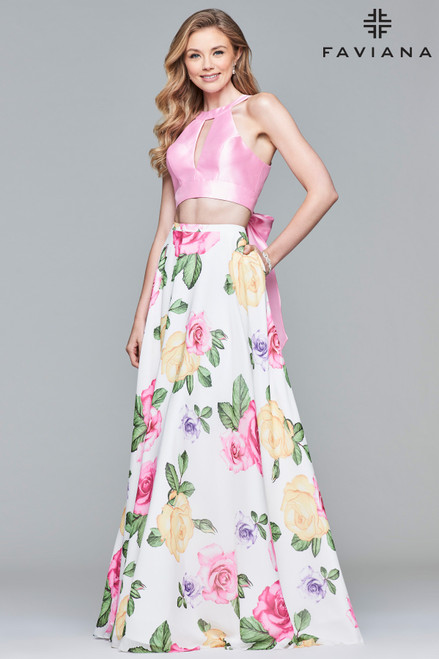 Faviana 10047,Faviana style 10047 is flirty, fun, and feminine all at once. This two-piece, chiffon and mikado dress features a floral print skirt, cut-outs on the front and back, and a feminine bow to tie it all together. This dress is available in ivory/pink and can be accessorized with silver crystal jewelry. This is the perfect style for a spring or summer event.- shop prom-avenue