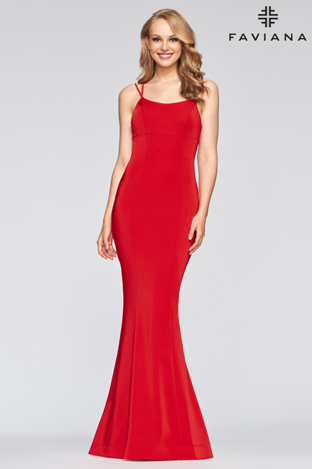 Long stretch faille satin scoop neck dress in style Faviana S10438 with adjustable lace-up back, invisible zipper hook & eye closure- shop prom-avenue   Available in in Red, Wine, Navy