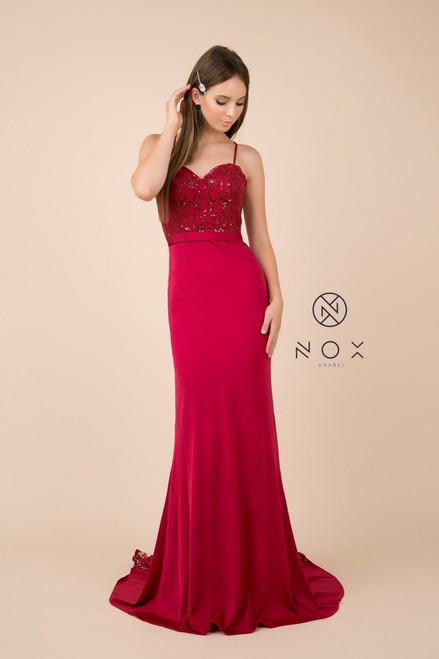 NX E276, We are falling in love with this affordable but beautiful  long fitted dress with glittered lace train  and sweetheart neckline in style NX E276- shop prom-avenue  Available in Red, Green, Rose and White