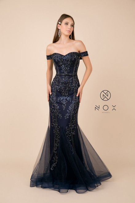 NX H294,A combination of romance and elegance in style NOX H294 in off the shoulder and mermaid silhouette that will compliment your curves - shop prom avenue   Available in Mauve Pink and Navy