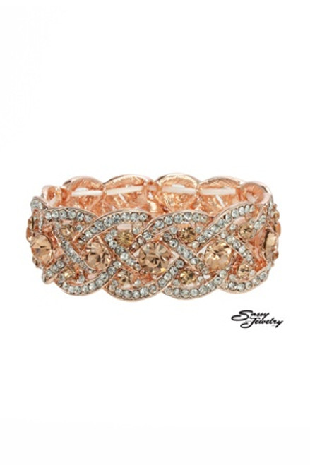 Rose Gold Crystals Stretchy Bangle/Bracelet