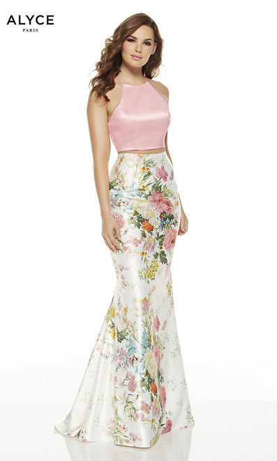 Cute and trendy two piece floral prom dress in full length skirt by Alyce 1540 with mermaid skirt and halter neckline and pink crop top- shop prom avenue  Available in Wildflower Pink