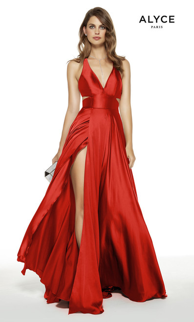 Alyce 60782 Long Flowy Prom Dress with Cut Outs