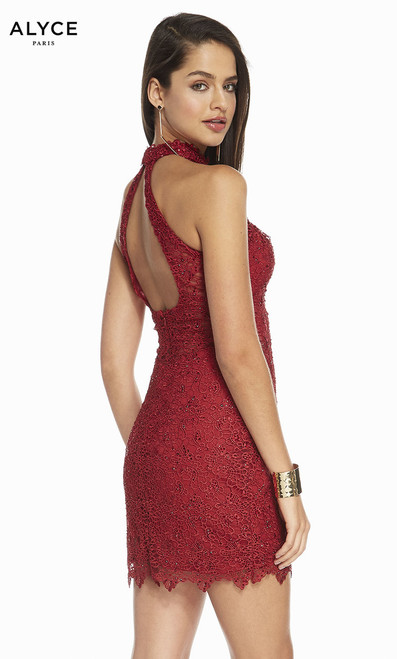 Look cute and ready to party for night out in the city or celebrate holdays with this short formal dress in style Alyce 1475 with high neckline and cut out back - shop prom avenue  Available in Claret, Midnight, Glacier Blue