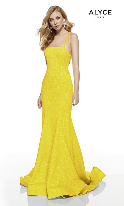 Yellow prom dress,Glittery exquisite long formal dress in style Alyce 60692 that will flatter your curves in straight neckline and strappy back - shop prom-avenue  Available in Glacier Blue, Bright Yellow, Hot Pink, Midnight