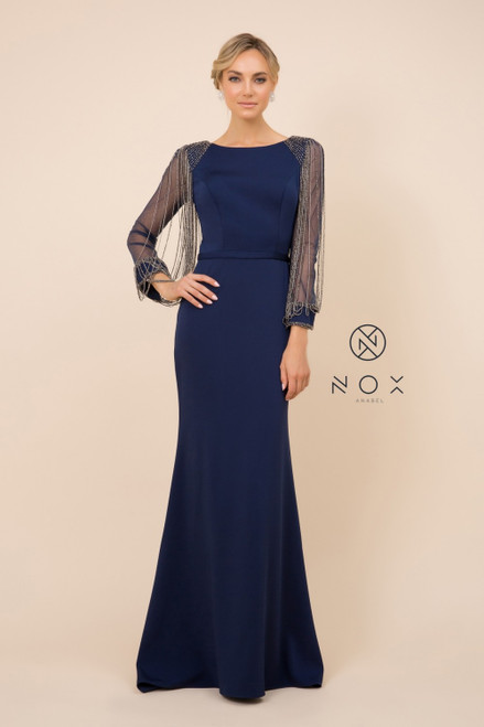 NX Y410,Trendy long sleeve party dress or formal dress with elegant mermaid silhouette and beadings in style NX Y410 - shop prom avenue  Available in Navy and Rose