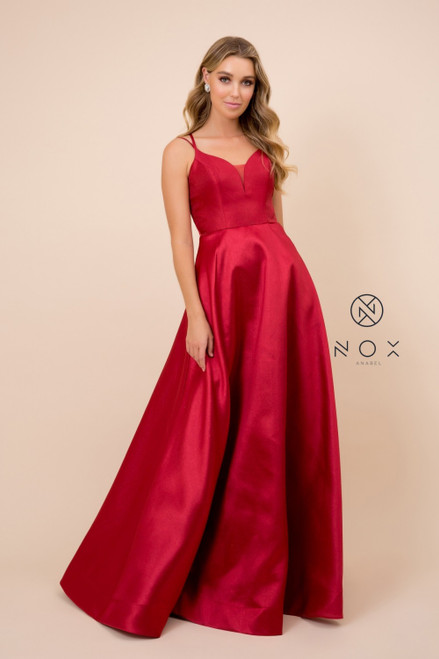 Effortless and elegant in mikado long ball gown style prom dress with lace up open back and V neckline, this dress also features a V neckline - shop prom avenue   Available in Burgundy, Cream White, Blue