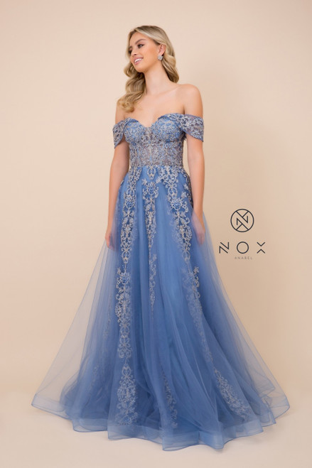Off the shoulder neckline long prom gown that is perfect for your glamorous sweet 16, quinceanera or prom dance with sleek embellish lace design to the bodice and a corset back in style NX F336- shop prom avenue  Available in Cobalt Blue, Rose Gold