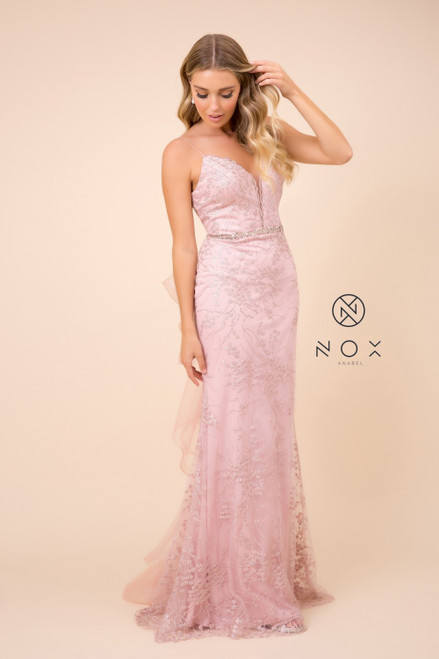 Ever pretty and sweet V neckline dress in sequins on style NX T314. The dress features an embellished waistline and open V back - shop prom avenue  Available in White, Rose