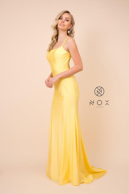Jaw dropping fitted long prom and special event dress in style NX C301 with hip hugging silhouette and sexy criss cross open back - shop prom-avenue  Available in Black, Blush, Burgundy, Fuchsia, Huntergreen, Red and Yellow