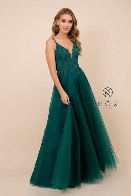 NX R357, hunter green- Captivating elegance in Nox Anabel R357 with V neckline and lace bodice, this dress is perfect for any special occasion or prom dance available in Hunter Green, shop prom avenue