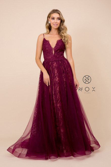 NX C305. nox anabel C305,Stylish long formal dress in style NX C305 that brings sophistication in jaw dropping silhouette with its deep V cut illusion neckline and A-line skirt - shop prom avenue  Available in Nude-Nude