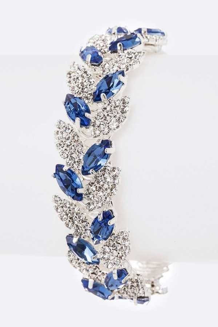 Beautiful blue and crystal rhinestone embellished bracelet that brings glitz - shop prom avenue