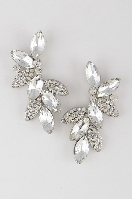 Luxurious leaf branch earrings that is an eye catching statement with post back closure measuring approximately 1.2 x 2. Lead and nickel compliant- shop prom avenue