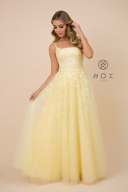 Get ready to party with this cute long formal dress in style NX C415 with lace bodice and open back. The dress has lace up closure - shop prom avenue , nox anabel C415  Available in Mauve Pink, Lemon Yellow, Navy Blue