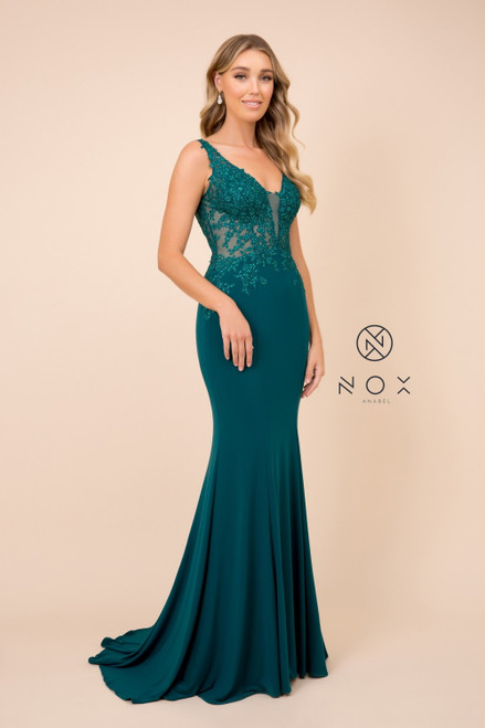 NX J326, Flaunt  your curves with this curve hugging mermaid style formal dress in style NX J326 illusion V neckline in jersey material and sweeping skirt - shop prom-avenue   Available in Burgundy, Green