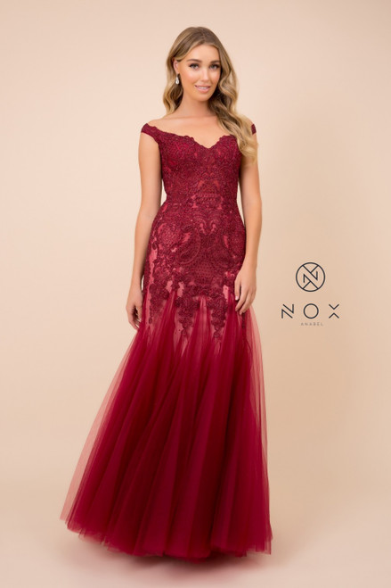Perfect mermaid dress for your big night with style NX J325 in gorgeous lace bodice and off the shoulder design- shop prom avenue  Available in Burgundy, Rose