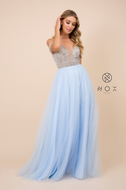 Trendy A-line style long prom dress in style NX L342 long length skirt and beaded bodice. It also features off the shoulder sleeves guaranteed to steal the attention on your special night - shop prom avenue  Available in Blue, Tan