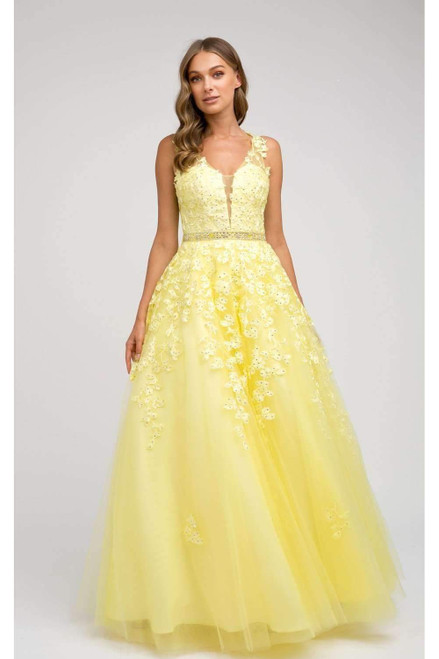 Long Prom Dress with Floral Appliqué JD 224