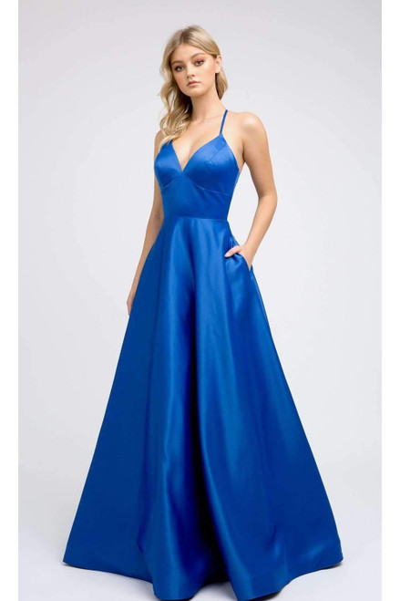 Simple and elegant long prom dress with sweetheart V neckline in style JD 230, this dress features open lace up back and pockets- shop prom-avenue   Available in in Royal Blue, Yellow, Pink Fuchsia, Red