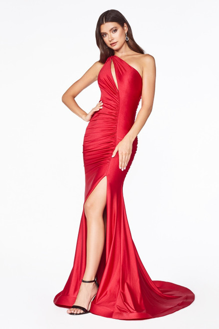 One shoulder fitted dress that is chic, sexy and ready to strut to your prom carpet with cut-out to the neckline, ruching on the bodice and side slit. - shop prom avenue  Available in Red and Fuchsia